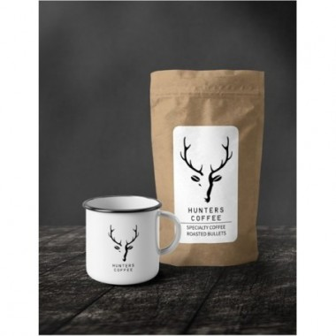 Darčekový set Hunters Coffee s plechovým hrnčekom